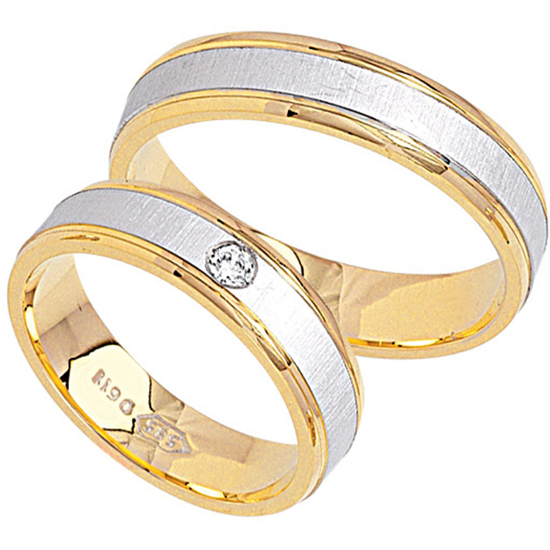 Adam & Eva Collection Bicolor Eheringe / Trauringe Gelbgold/Weißgold K7-K8