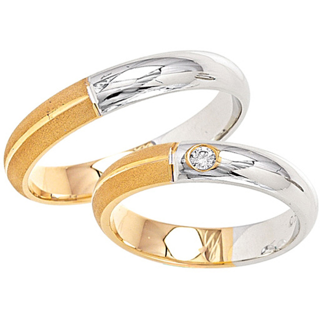 Adam & Eva Collection Bicolor Eheringe / Trauringe K19-K20 Gelbgold/Weißgold
