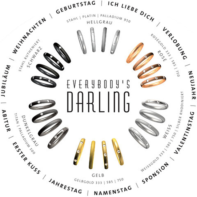 Collection Ruesch Everybody's Darling 3 Ringe Weiß/Gelbgold/Stahl